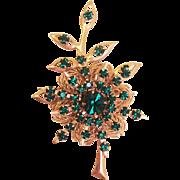 Sparkling Emerald Green Rhinestone Pin