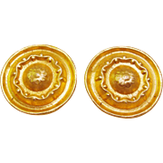 Designer Signed Marcy Feld 1980's Bold Etruscan Style Gold Plated Earrings
