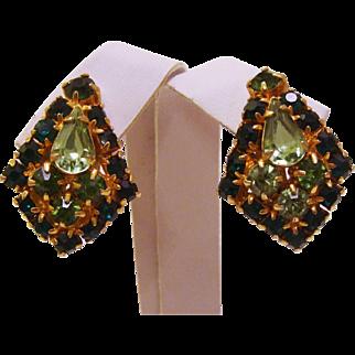 Vintage 1960's Sparkling Green Glass Rhinestone Earrings