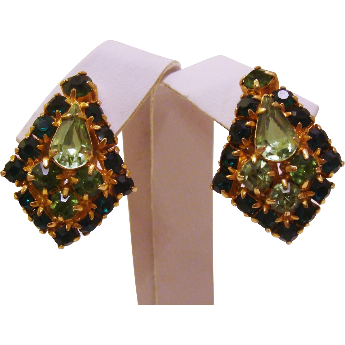 Vintage 1960's Sparkling Green Glass Rhinestone Earrings