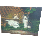 50% OFF Kitten Acrylic Paint Embellishment Giclee on Canvas
