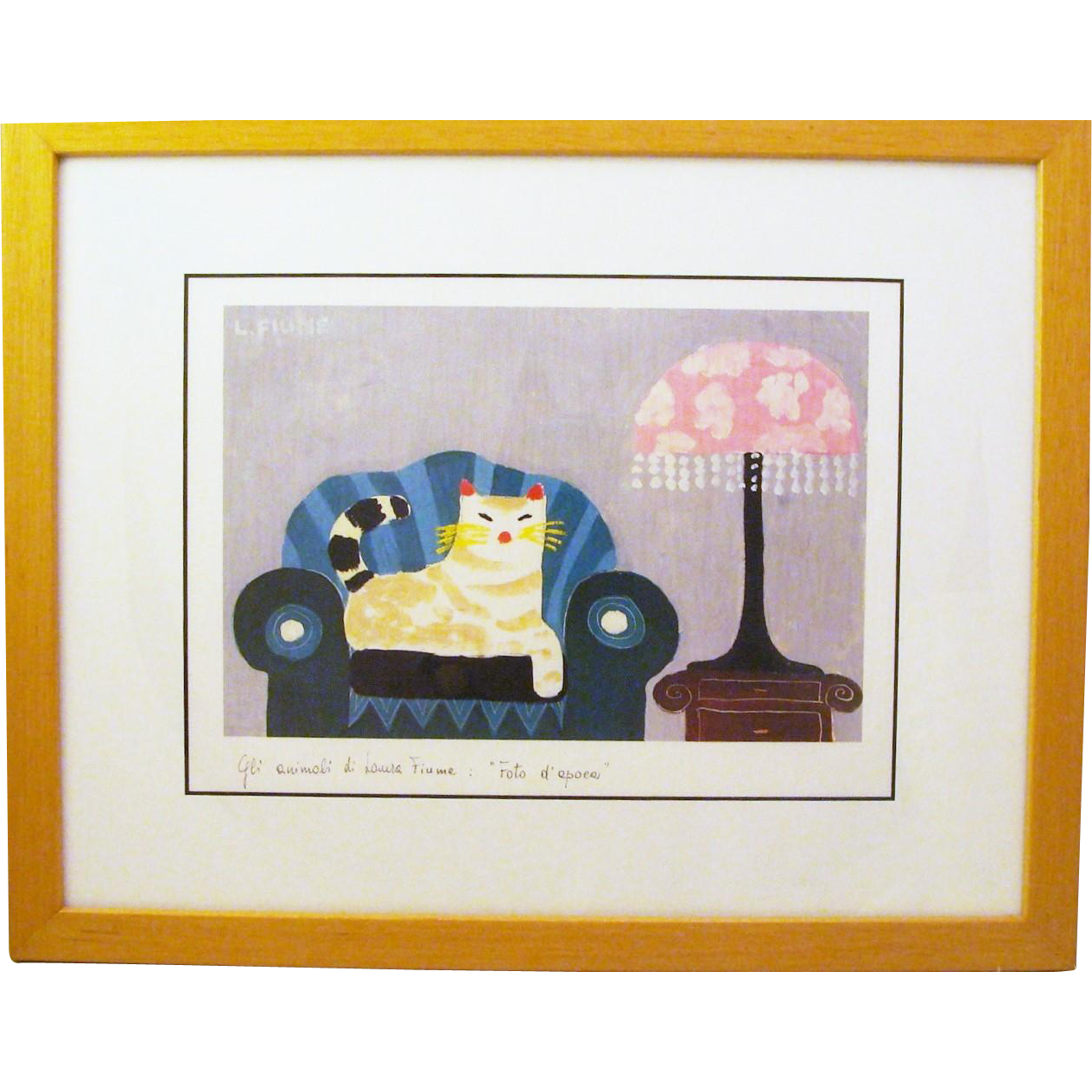 Laura Fiume Matted Cat Lithograph in Frame