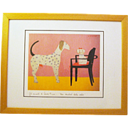 Laura Fiume Matted Dog Lithograph in Frame