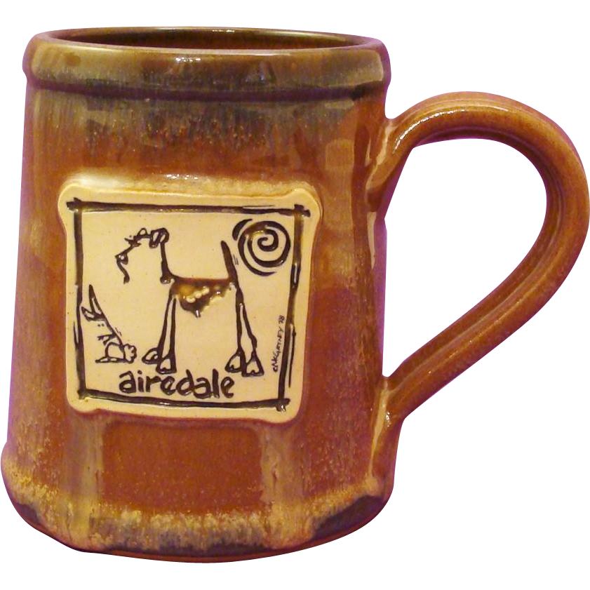 Airedale Terrier Dog Hand-Thrown Stoneware Mug by Deneen Pottery and Art by McCartney
