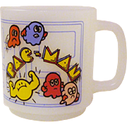 Vintage 1980's Glasbake Midway Pac-Man Arcade Game Milk Glass Mug
