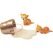 Highly Sought after & Rare 1950's Hagen-Renaker Orange Kittens and Spilled Milk Bucket