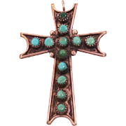 Native American Souvenir Sterling Silver & Turquoise Cross Pendant