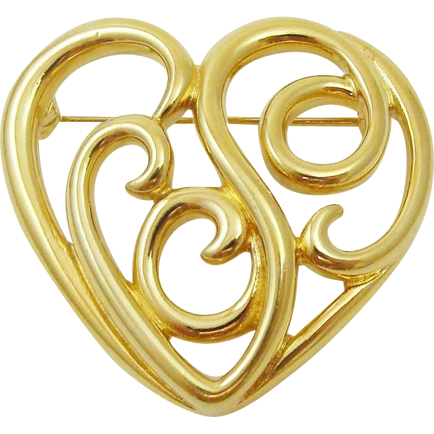 Monet Signed Polished Scrolled Heart Pin Brooch