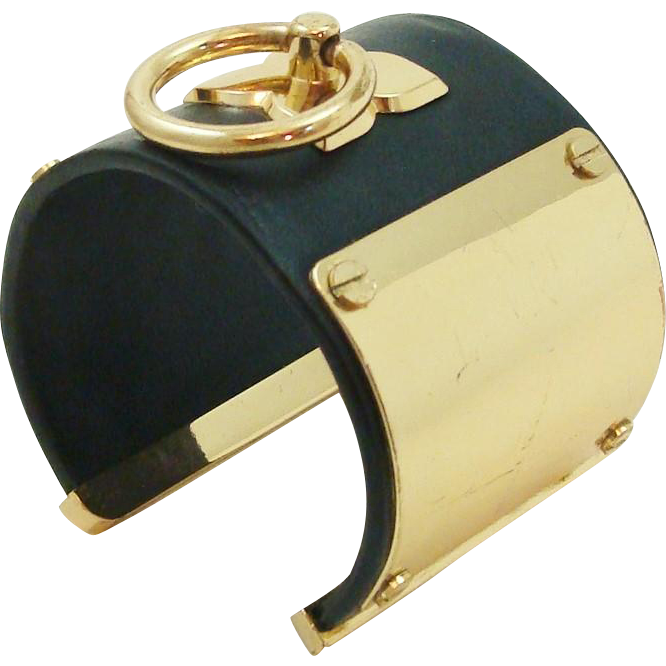 Bold Signature BCBG MAX AZRIA Icon Fifty Shades Toggle Black Faux Leather & Gold Tone Cuff
