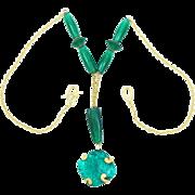 50% OFF Liz Claiborne Foiled Glass Drop Necklace Circa 1980's