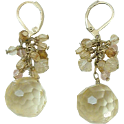 Gorgeous Cut Crystal in Golden Yellow, Amber & Pink Drop Earrings