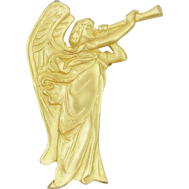 Archangel with Trumpet Signed Pin ~ Brooch