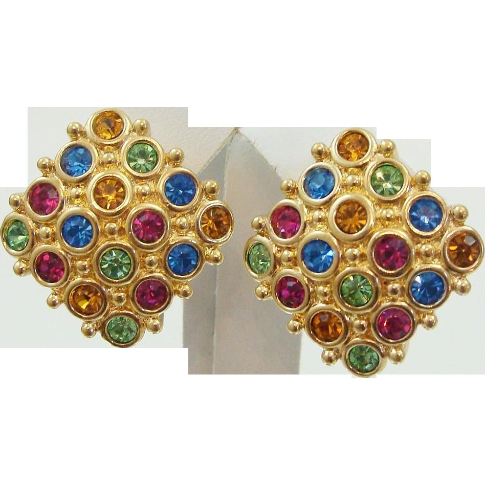 Designer Signed Swarovski Swan Logo Multi Color Cut Crystal Earrings