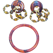 Wow Factor!! Faux Tortoise Shell Earring & Bracelet Set