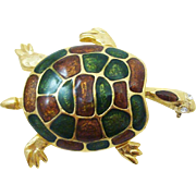 Vintage Figural Enamel Sea Turtle Pin
