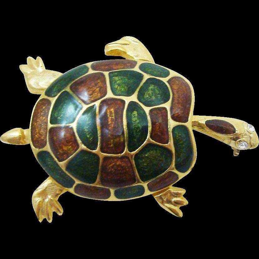 Vintage Figural Enamel Sea Turtle Pin