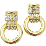Designer Signed Erwin Pearl Pave Rhinestone Door Knockers Earrings
