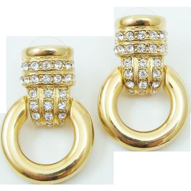 Designer Signed Erwin Pearl Pave Rhinestone Door Knockers Earrings