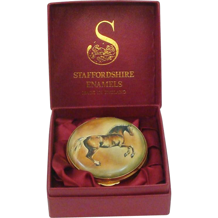 Staffordshire Enamels Hand Painted Georgian Revival Enamel Stallion Horse Trinket Snuff Box