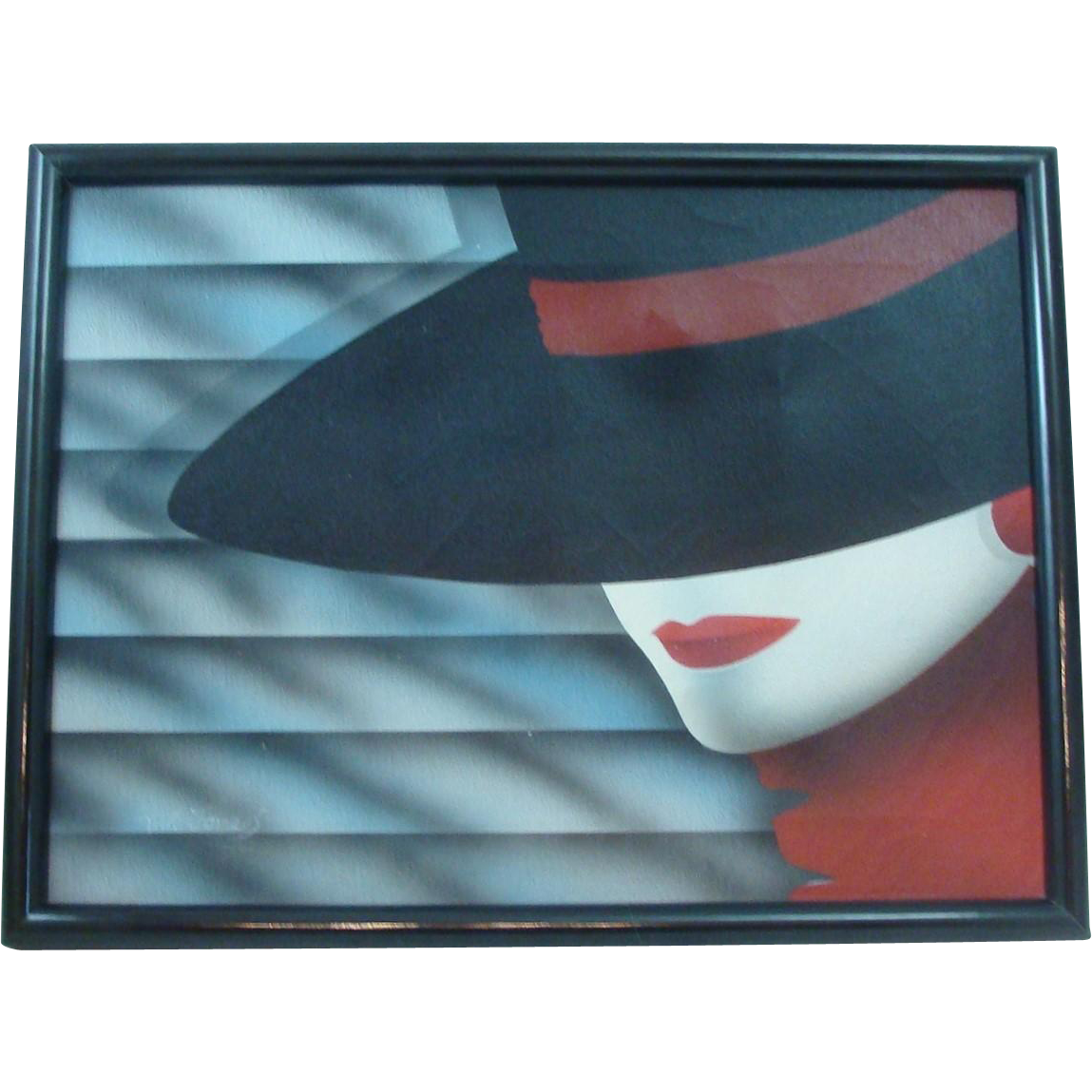 Early 1980's Nagel Style Framed Painting on Canvas Artist Signed W. Jones