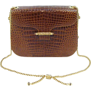 Italian Crafted Glossy Crocodile Skin Roomy Hand Bag with Shoulder Chain