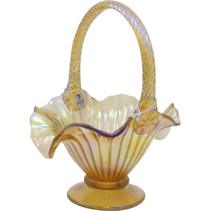 "Fenton Art Glass Iridescent Gold Stretch 9"" basket with Handle"