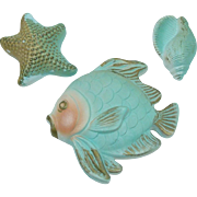 1967 Miller Studio Whimsical Chalkware Fish, Starfish and Shell