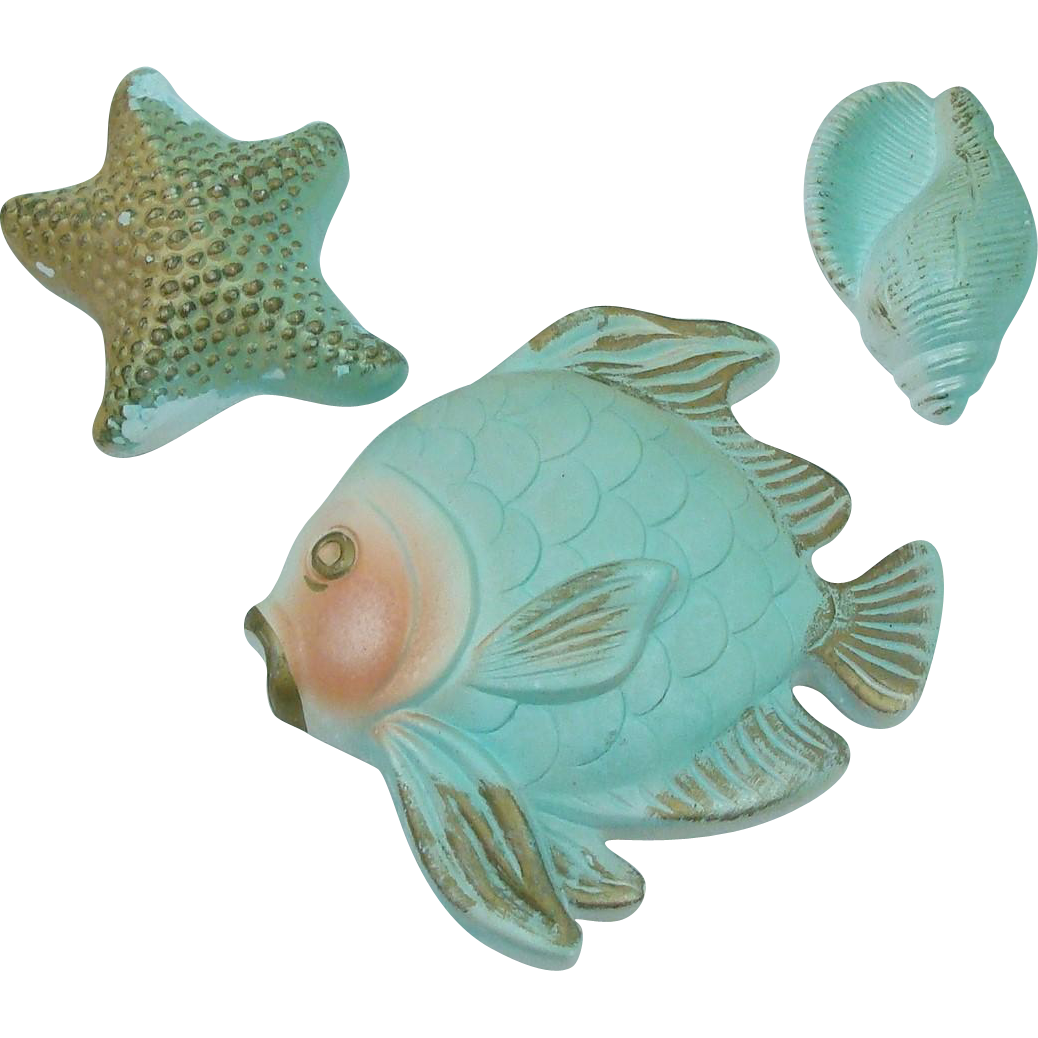 1967 Miller Studio Whimsical Chalkware Fish, Starfish and Shell