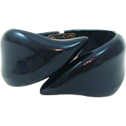 Classic Black Bypass Hinged Clamper Bracelet
