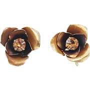 Signed Coro Metallic Brown Flowers with Topaz Rhinestones