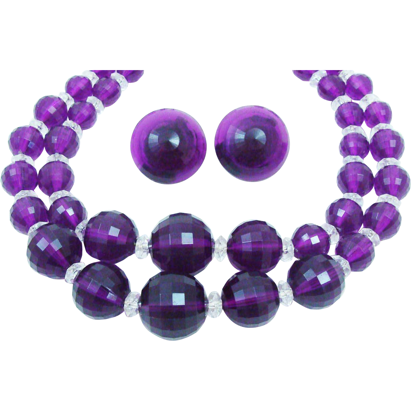 Rich Deep Purple Demi Parure of Faceted Lucite Beads and Ornate Cut Crystal Spacers