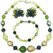 Brilliant W. Germany Signed Olive Green, Gold & Aurora Borealis Complete Parure