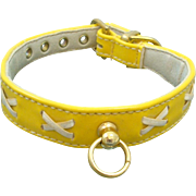 "Vintage Faux Yellow Patent Leather Dog Collar by R.H. McElheney Signed ""EXODUS"" Circa 1950-60's"