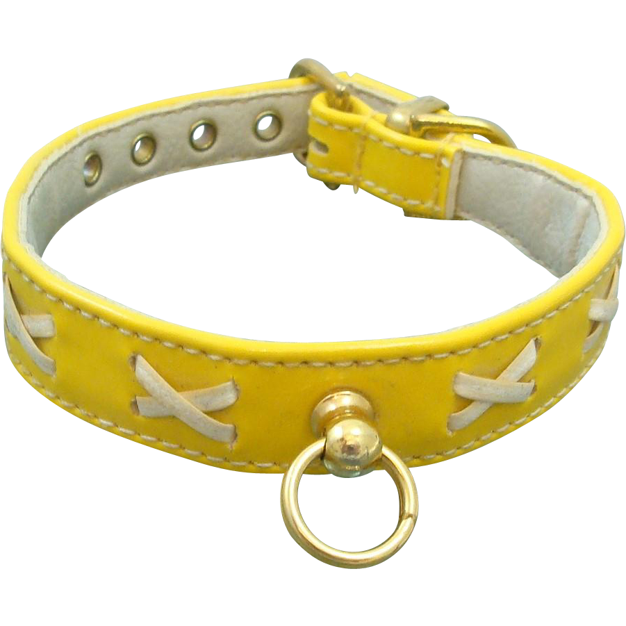 """Vintage Faux Yellow Patent Leather Dog Collar by R.H. McElheney Signed """"EXODUS"""" Circa 1950-60's"""