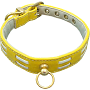 "Vintage Padded Faux Patent Leather Dog Collar in Bright Yellow ""Dasher"" 12"""