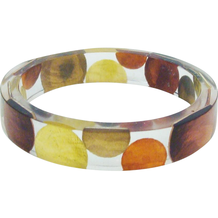 "Bold Clear Lucite Bracelet of Metallic ""Coin"" Dots"