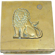 Vintage 1980's Proud Lion Brass Trinket ~ Jewelry Box