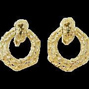 Signed Rogét Chunky Gold Tone Hoop Door Knocker Style Earrings