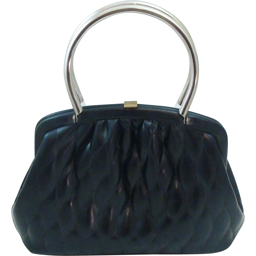 Soft Quilted Faux Leather Black Bag with Rigid Handles by Kadin U.S.A.