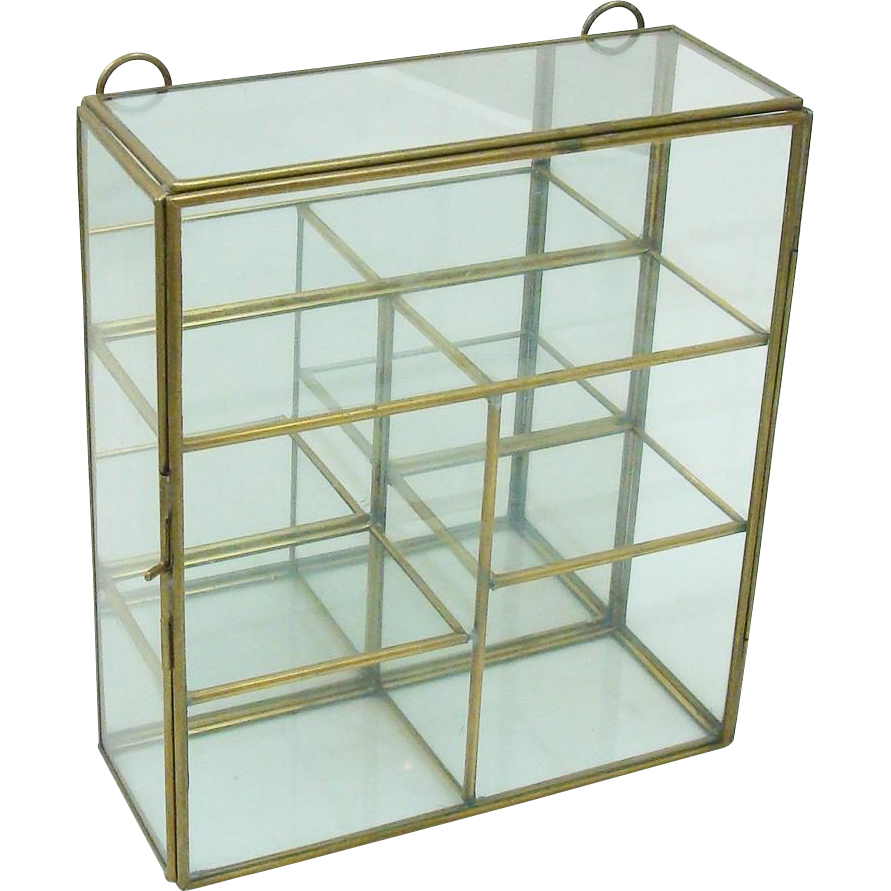 Charming Brass, Glass & Mirror Hanging Trinket Display Case