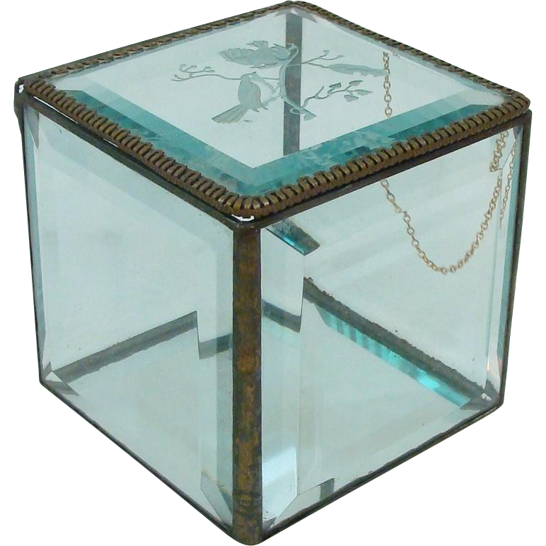 Delightful Beveled Etched Glass Trinket Jewelry Box Casket