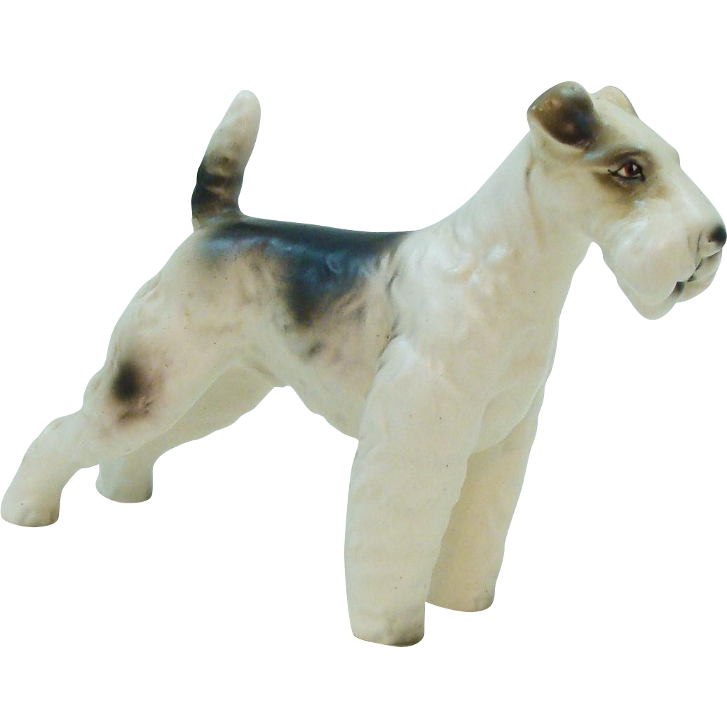 Proud Wire Haired Fox Terrier Dog in Porcelain