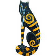 Unsigned Laurel Burch Wood Cat Pin Brooch