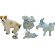 Collection of Fox Terrier Dogs Great for Dollhouse Scene