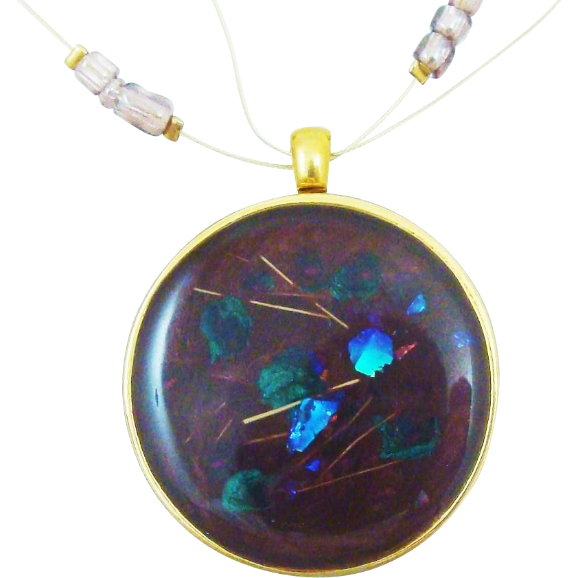 Stunning Necklace & Pendant Set with Opalescent Flash and Glass Beads