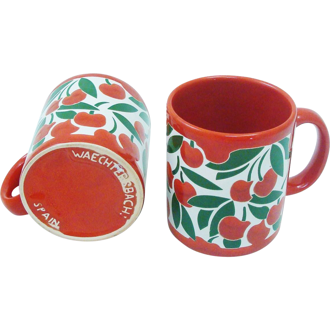Set of Vintage Waechtersbach Cherry Mugs Made in Spain