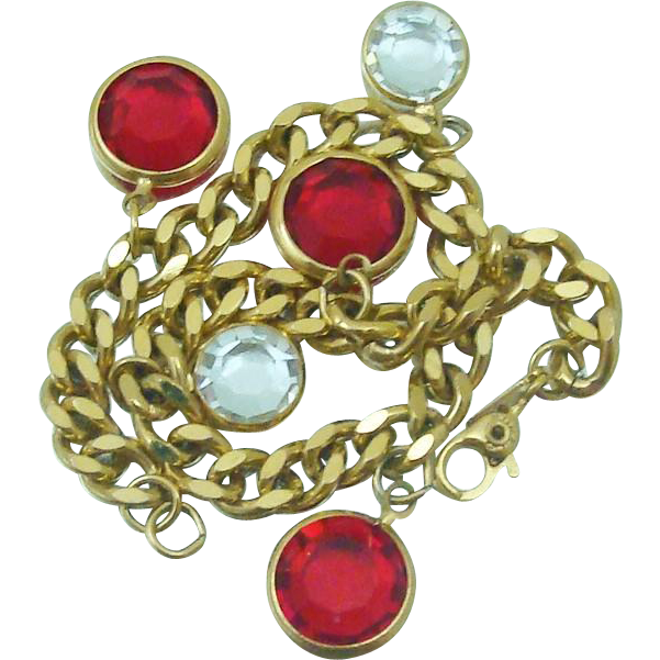 Vintage Monet Bezel Set Hanging Crystal Bracelet Ruby Red & Clear