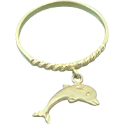 14K Yellow Gold Dolphin Charm Ring