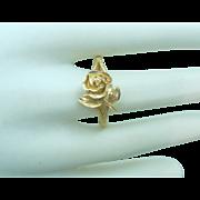 Vintage 14K Gold Diamond Cut Rose Ring