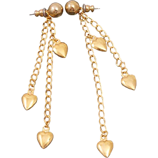 Vintage Long Dangling Hearts Earrings